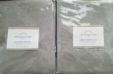 "2 Pottery Barn Silk Dupioni Pole Pocket BLACKOUT Drapes~ 50X108"" ~ PLATINUM GRAY"