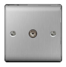 BG Nexus Brushed Stainless Steel Co Axial Socket 1 Gang