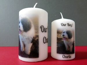 Personalised Photo Candle Dog Cat Pet Gift Remembrance Birthday Christmas
