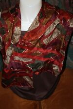 SILK SCARF BY LIZ CLAIBORNE IN PRETTY FALL COLORS-EXC. COND. 10 x 52 INCHES