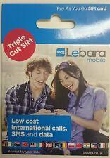 Lebara MOBILE PAYG Pay As You Go TRIO SIM CARD Standard/Micro/Nano NEW
