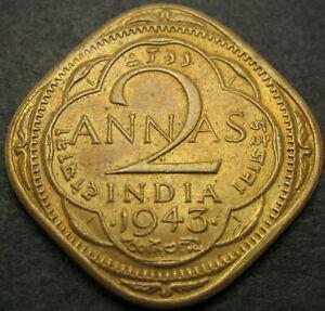 INDIA (British) 2 Annas 1943 - VF/XF - 1802 ¤