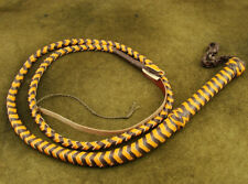 HEAVY DUTY BULLWHIP HUNTER BROWN AND YELLOW PU LEATHER 4 FOOT LONG BRAND NEW(206