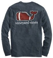 Vineyard Vines Football Whale Charcoal Gray Graphic Long Sleeve Pocket Tee Large