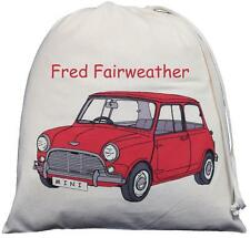 PERSONALISED - RED MINI - LARGE COTTON DRAWSTRING BAG - PE Kit - CAR