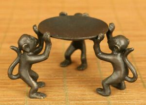 Chinese Collectible Decor Handmade Old Copper 3 monkey plate statue Candlestick