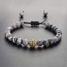 Luxury Man's Grey Jasper 18kt Gold Plated CZ Ball Beaded Yoga Macrame Bracelets