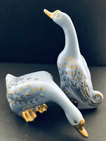 Vintage Le Pere Pottery Co Pair of Geese Blue Gold Ceramic