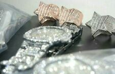 iced out mens watch and star ring set (silver/rose gold)