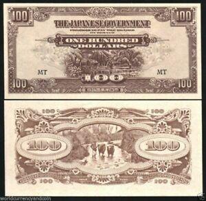 MALAYA 100 DOLLARS M-8 1944 x 100 Pcs Lot BUNDLE UNC INVASION WWII NOTE MALAYSIA