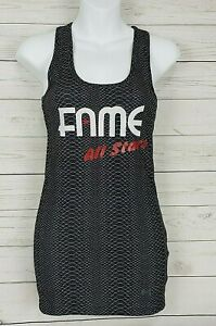 NEW Under Armour Heatgear Fitted Tank Top Sz S Black Snakeskin Fame All Stars