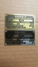 Szekely Aircraft Engine data plate Acid Etched Brass or Nickel 1930s Choice