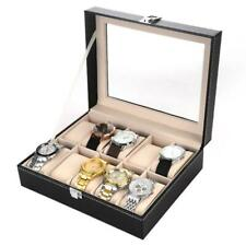 Luxury 10 Slots PU Leather Watch Display Box Storage Case Large Holder Organizer