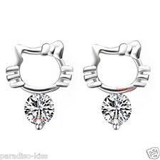 coppia orecchini da donna Gatto strass bianco R37