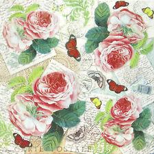 Papel De Arroz-Rosas Y Mariposa-Decoupage Scrapbooking Hoja