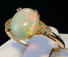 2.42ct Ethiopian Opal Cabochon with Alexandrite Accents 10k Gold Ring Size 7