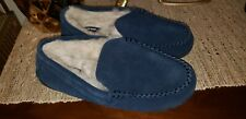 LANDS END Men's Navy Suede Leather Shearling Fur Moccasin Slippers 11