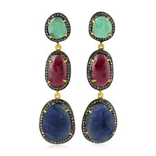 Dangle Earrings 14k Gold Jewelry Natural Diamond 26.4ct Multi Sapphire Silver