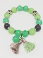Bracelet Bijoux femme Fantaisie Vert clair Pompon Perle & bouddha NEUF ref 18