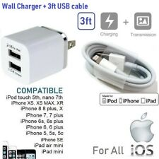 2.1A Double USB Port Wall Charger CUBE + 3ft USB Cable for iPhone 6,7,8,X [i1]