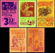 Five Poster Set 1971 Tower Records Sunset CSNY Carly Simon T Rex Alice Coop