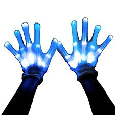 Led Skeleton Gloves, 12 Color Changeable Light Up Shows Halloween Costume, Gift