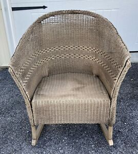 Vintage Antique Natural Wicker Rocking Chair