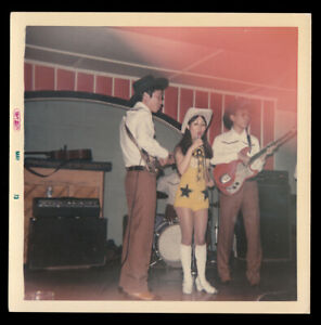 SEXY ASIAN COWGIRL WOMAN COUNTRY ROCK ELECTRIC GUITAR BAND ~ 1972 VINTAGE PHOTO