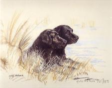 LABRADOR RETRIEVER BLACK DOG ART LIMITED EDITION PRINT - Brace
