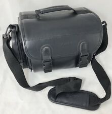 Vintage SONY Camera Bag Black Synthetic Leather 6 Compartments With Strap