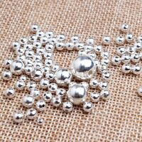 50pcs S925 Sterling Silver Round Seamless Spacer Beads size:2mm 3mm 4mm 5mm 6mm