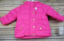 Carter's Girl's Hot Pink Hooded Winter Jacket Coat 12 Months Faux Fur NWT