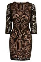 Warehouse Black 3/4 Sleeve Lace Bodycon Mini Dress Size 14 fits 10-12