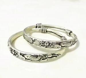 Rare 2 Pcs Old Miao Silver Carved Fish Men's Bracelet Bangle