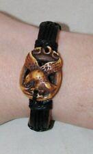 """Leather Bracelet EAGLE Handmade Tribal OA Regalia Pow Wow  Fits 6"""" to 7.5""""  BR9"""