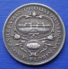 Australia One Florin Coin~1927 Parliament House~.925 Silver 11.3g~KM#31~VF~#1145