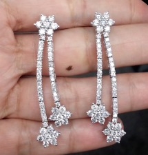 Deal! 3.65CT Natural Round Diamond Hanging Chandeliers Earrings 14K White Gold