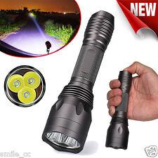 8000LM 3x CREE XM-L T6 LED Zoom 5Mode 18650 Tactical Flashlight Torch Light Lamp