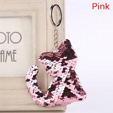 Cat Shaped  Sequins Key Chain Handbag Pendant Keyring Jewelry Gift