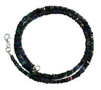 """Black Ethiopian Opal 4 to 5mm Rainbow Fire Square Heishi Beads Necklace 18.5"""""""