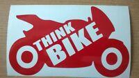 THINK BIKE biker motorbike safety vinyl sticker sign car van helmet wall art tt