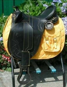 """Draft Horse Black Australian Stock Saddle Collection with Horn 17"""" All Sizes"""