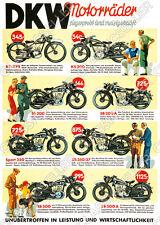 DKW Motorrad Vorkrieg RT 3 PS KS SB 200 250 350 500 A Poster Plakat Bild Reklame