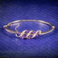 Antique Victorian Amethyst Pearl Bangle 9ct Gold Circa 1900