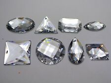 35 Assorted Clear Flatback Acrylic Big Sewing Rhinestone Gems Sew On Beads