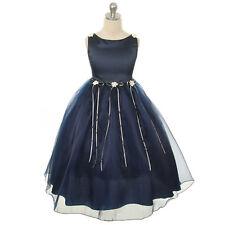 NAVY BLUE Flower Girl Dress Formal Wedding Party Birthday Recital Pageant Dance