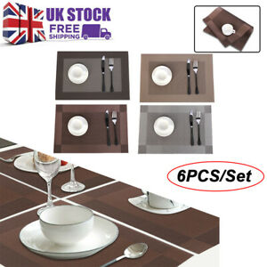 Set Of 6 PVC Place Mats Coasters Dining Table Placemats Non-Slip Washable New