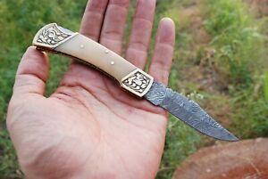Custom HANDMADE DAMASCUS STEEL FOLDING Blade POCKET KNIFEHunting Camping