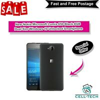 New Nokia Microsoft Lumia 650 Black Windows 8GB 3G Dual Sim Unlocked Smartphone