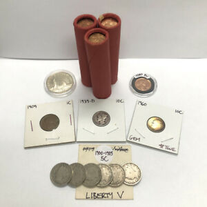U.S. Coin Lot: 1973 P/D/S Lincoln Cent BU Shotgun Roll Set + 90% Silver & Wheat